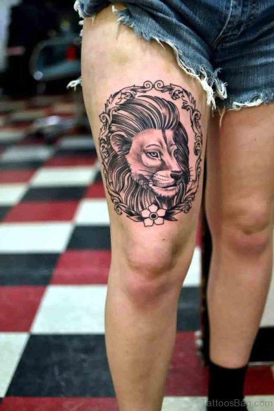 Pretty Lion Tattoo Design on Thigh