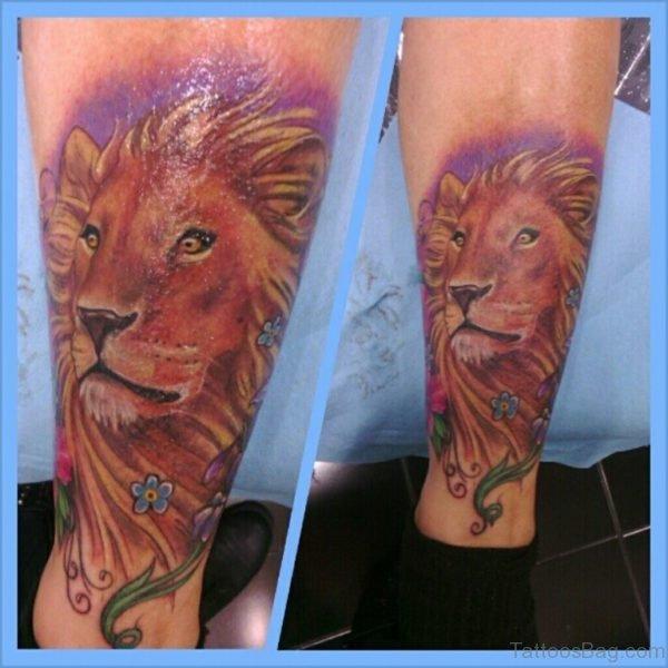 Pretty Lion Tattoo On Leg