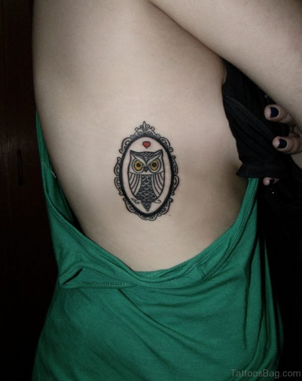 Pretty Owl Tattoo On Rib