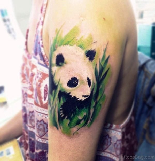 Pretty Panda Shoulder Tattoo