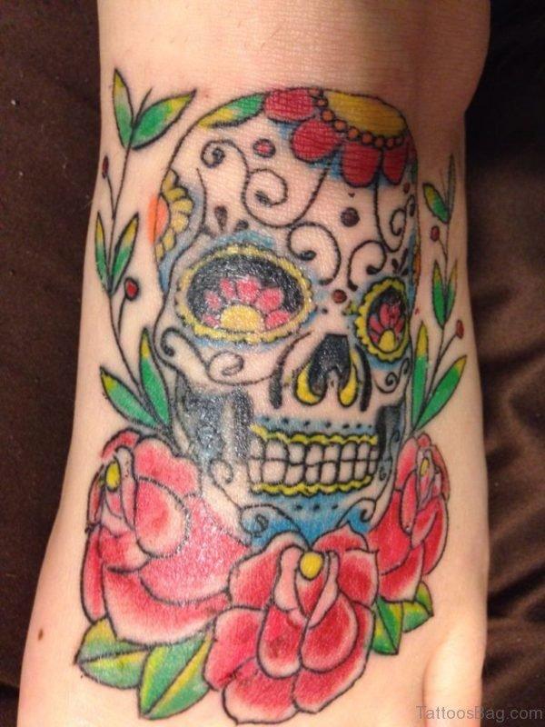Pretty Rose And Skull Tattoo