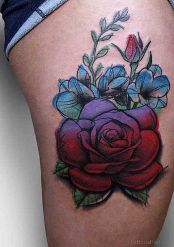 Pretty Rose Flower Tattoo On Thigh
