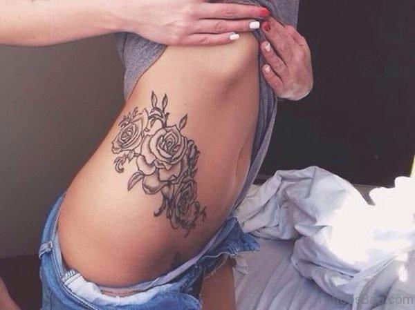 Pretty Rose Tattoo On Rib
