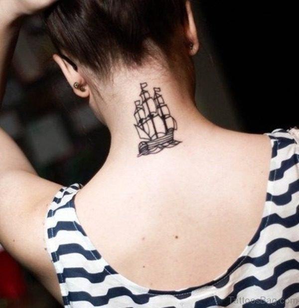 Pretty Ship Tattoo On Neck