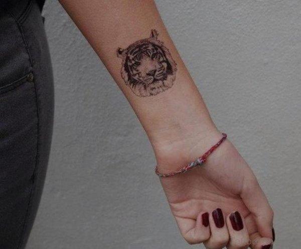Pretty Tiger face Tattoo On Wrist
