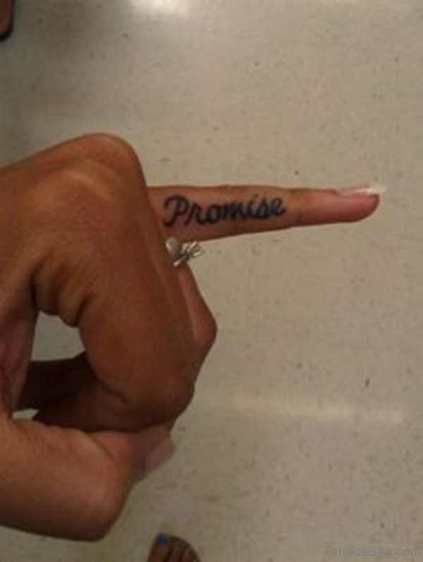 Promise Finger Tattoo On Little Finger