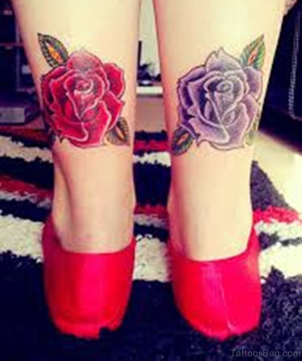 Purple And Red Ink Rose Tattoos On Ankle