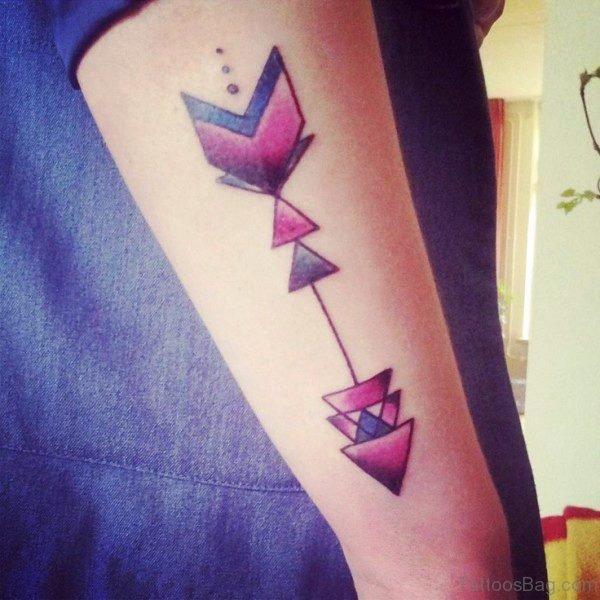 Purple Colorful Arrow Tattoo On Arm