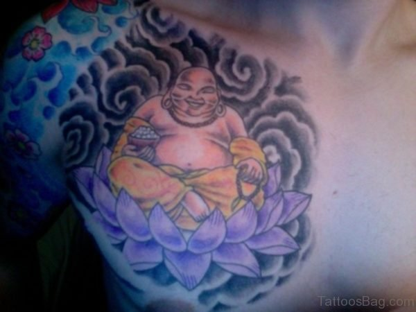 Purple Flowes Tattoo On Chest