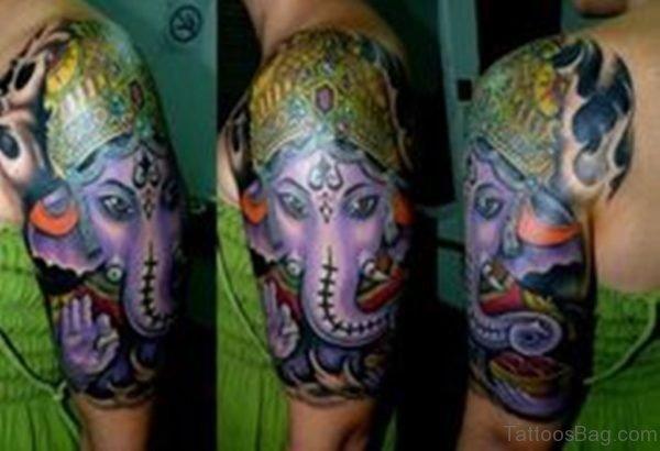 Purple Ganesha Tattoo
