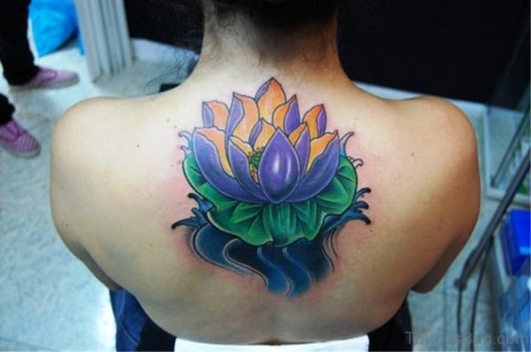 Purple Lotus Neck Tattoo Design