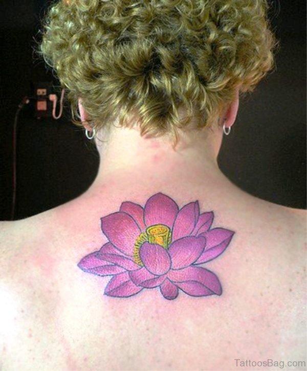 Purple Lotus Neck Tattoo