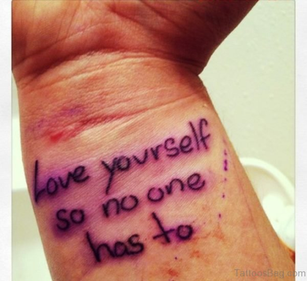 Purple Love Yourself Tattoo