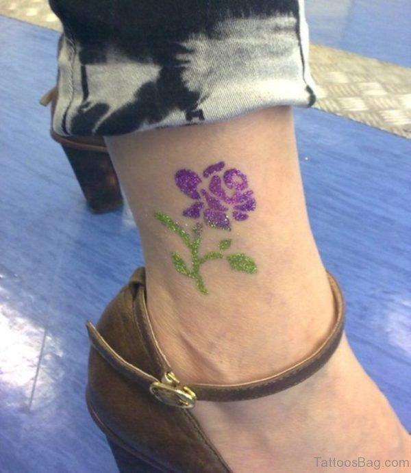 Purple Rose Glitter Tattoo On Ankle