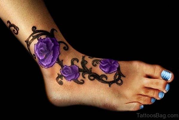 Purple Rose Tattoo On Ankle