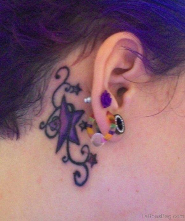 Purple Tattoo Behind Ears