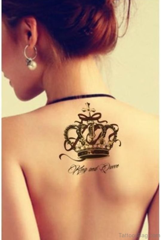 Queen Crown Tattoo On Neck