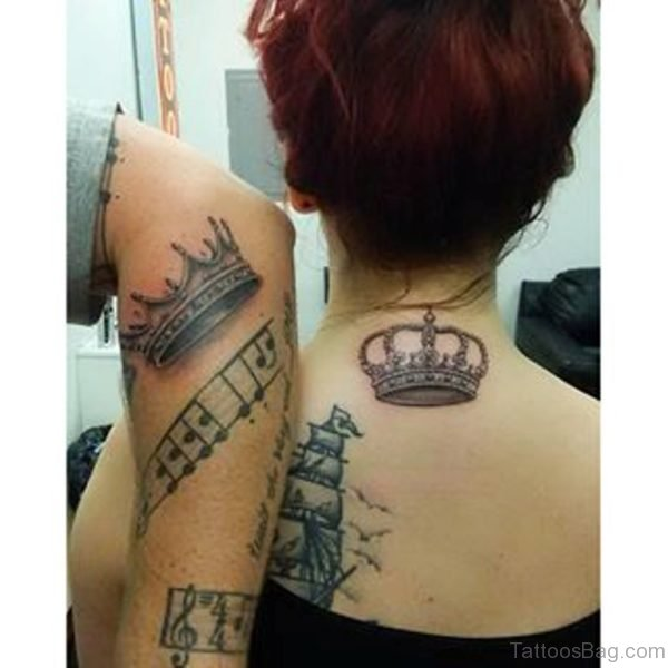 Queen Tattoo On Neck Back