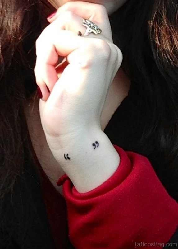 Quotation Mark Tattoo On Wrist