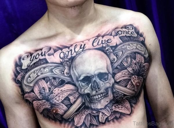 Quotation With Skull On Chest