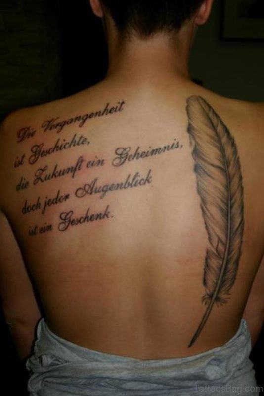 Quote And Feather Tattoo