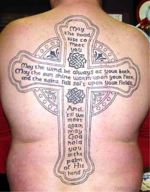 Quotes And Cross Tattoo On Back