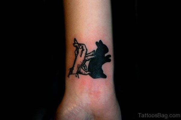 Rabbit Black Tattoo On Wrist