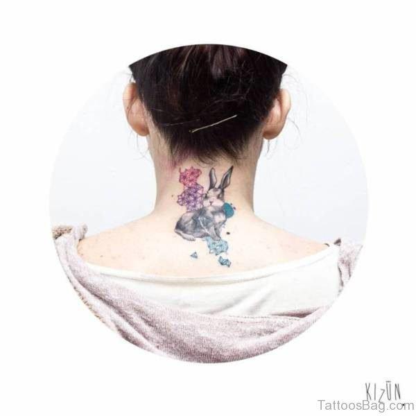Rabbit Tattoo Design On Neck Back