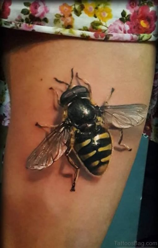 Realistic 3D Bee Tattoo Design For Thigh
