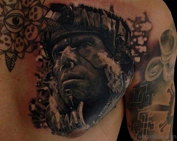 Realistic Aztec Warrior Tattoo