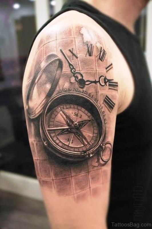 Realistic Black Clock Tattoo Design