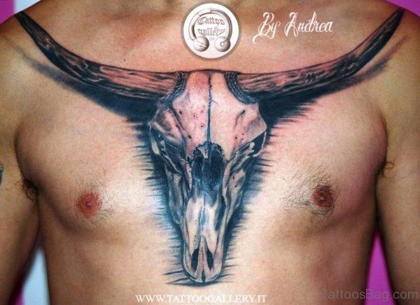 Realistic Bull Skull Tattoo On Chest