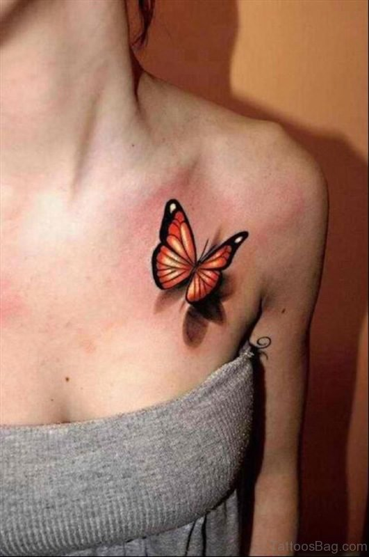Realistic Butterfly Shoulder Tattoo For Women