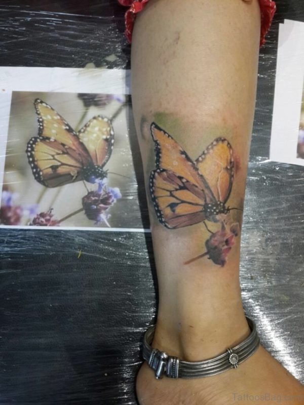 Realistic Butterfly Tattoo On Ankle