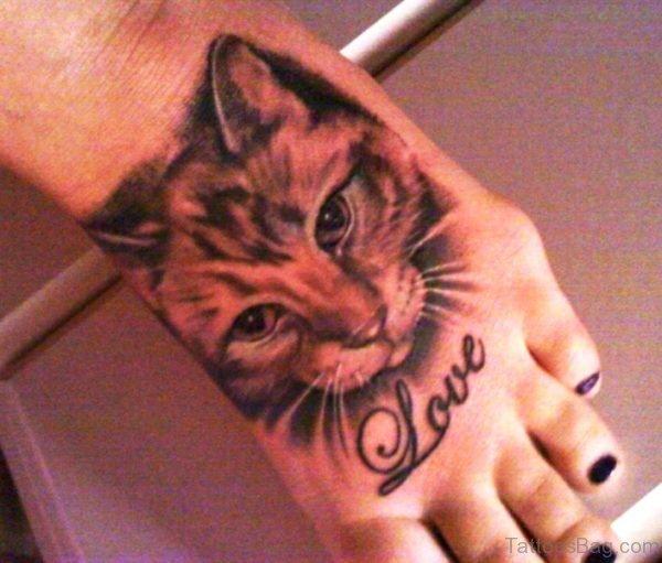 Realistic Cat Tattoo On Foot