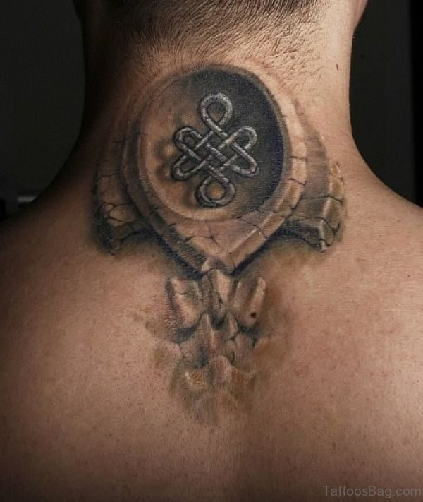 Realistic Celtic Knot Tattoo On Neck