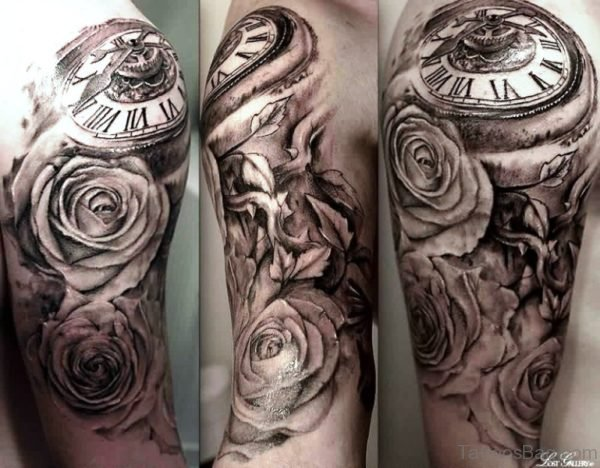 Realistic Clock And Roses Shoulder Tattoo Design