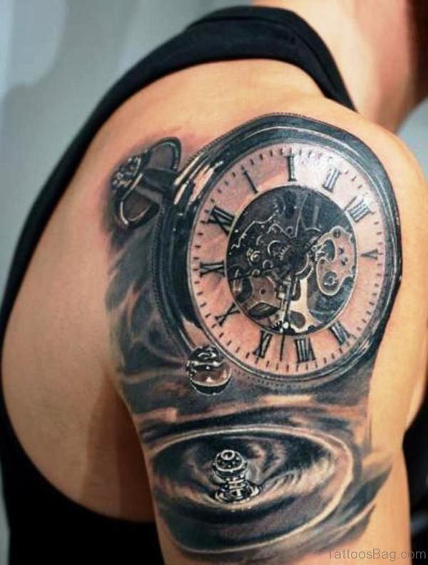 Realistic Clock Tattoo Design