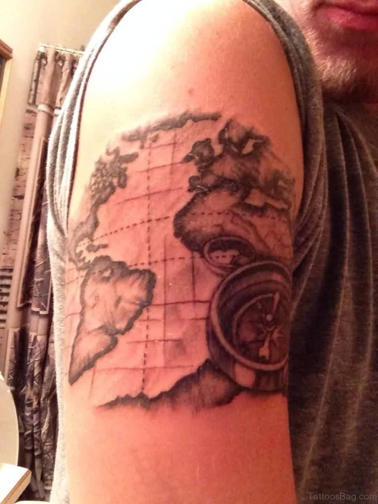 49 funky map tattoos on shoulder realistic compass and map tattoo gumiabroncs Choice Image