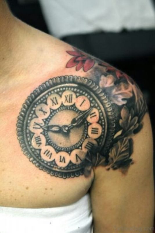 Realistic Cracked Clock Tattoo