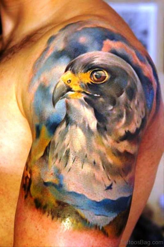 Realistic Eagle Tattoo Design On Left Shoulder