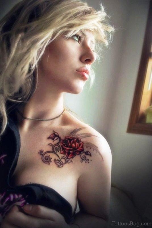 Realistic Flower Tattoo On Shoulder