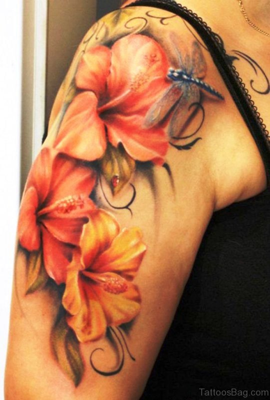 Realistic Flowers With Tattoo On Shoulder