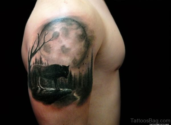 Realistic Full Moon And Wolf Tattoo
