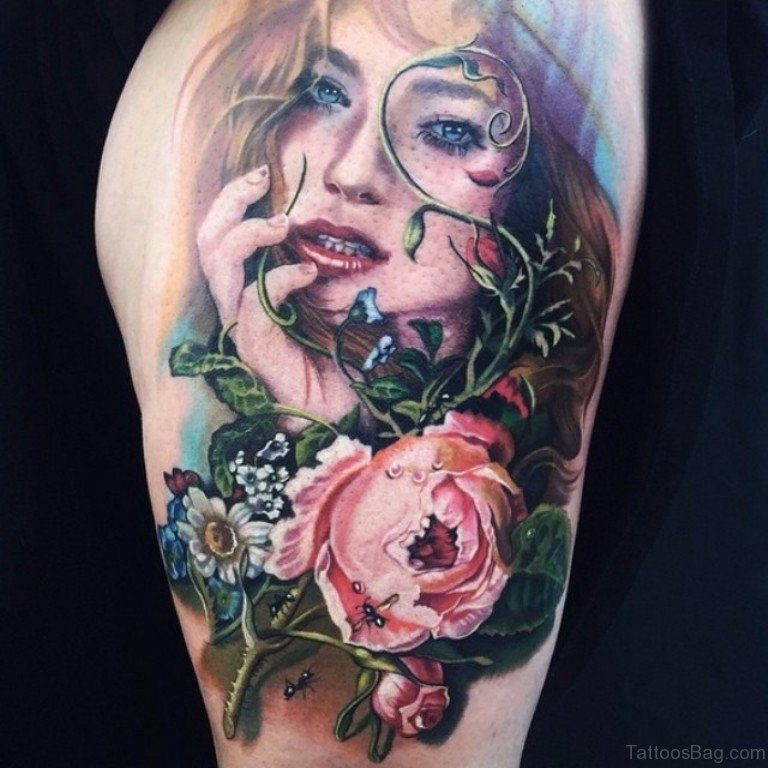 62 Elegant Portrait Tattoos Designs On Shoulder