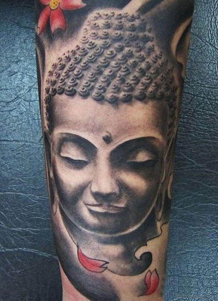 40 nice buddha tattoos on leg for Grey tattoo ink