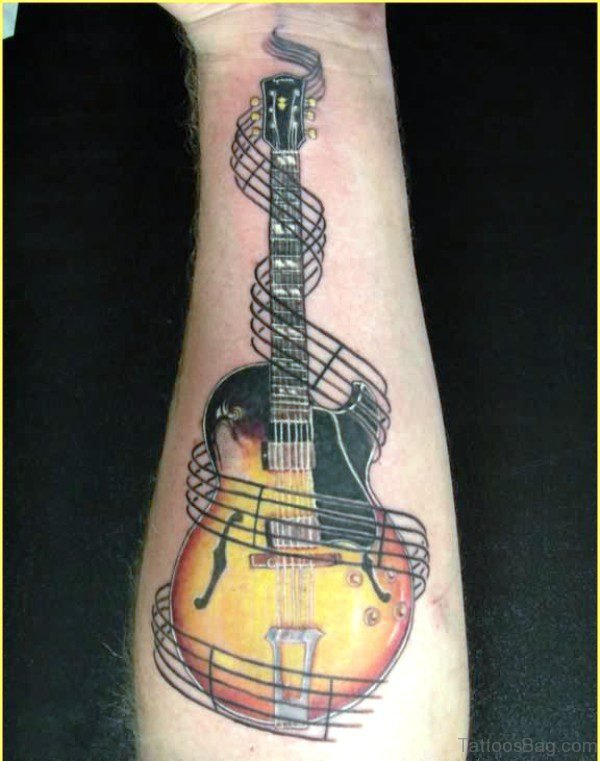 Realistic Guitar Tattoo On Forearm