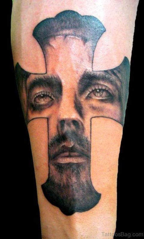 Realistic Jesus Portrait Tattoo On Arm