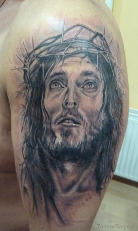 Realistic Jesus Tattoo On Shoulder