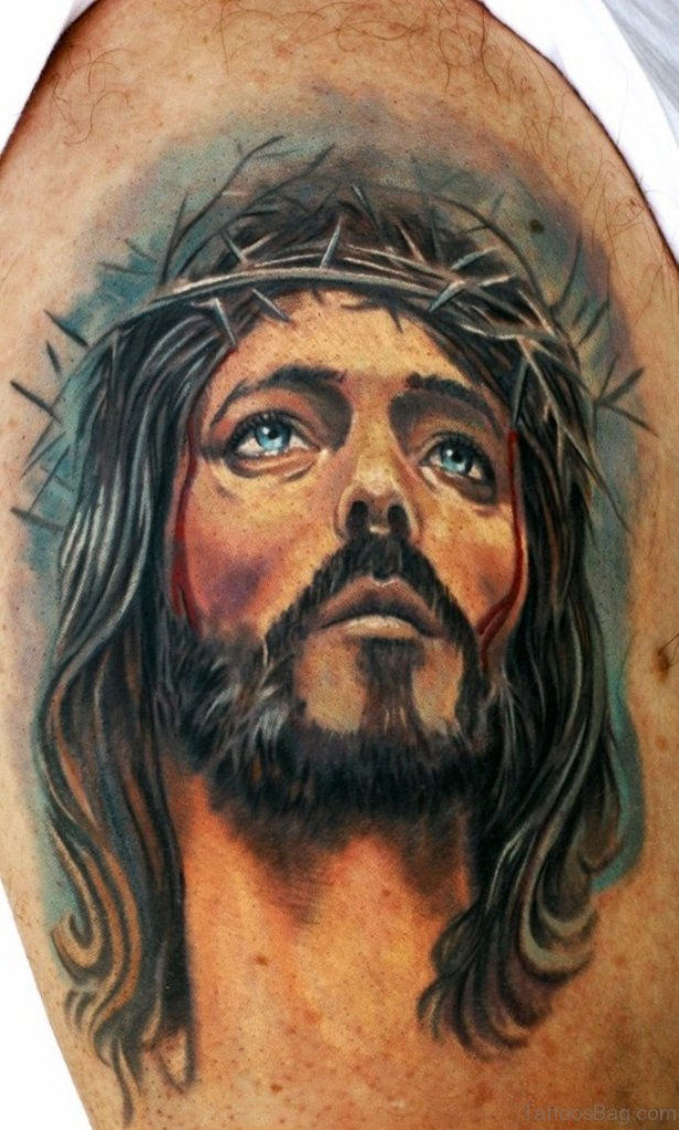 61 classic jesus tattoos on shoulder. Black Bedroom Furniture Sets. Home Design Ideas